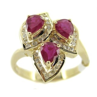 Kabella Luxe 14k Gold 1/3ct TDW Diamond and Ruby Ring (G-H, SI2-SI3)
