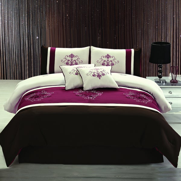 Adrien Lewis Zurick 5 Piece Embroidered Queen Size Comforter Set