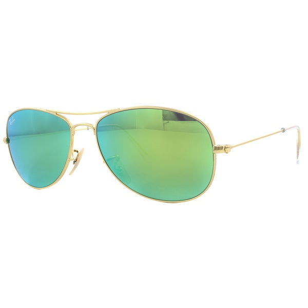 Ray-Ban RB3362 Matte Gold Green Mirror Cockpit Aviator Sunglasses