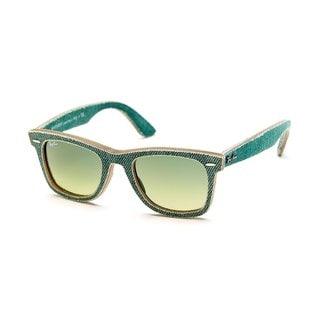 Ray-Ban Men's RB2140 Green Gradient Lens Wayfarer Sunglasses