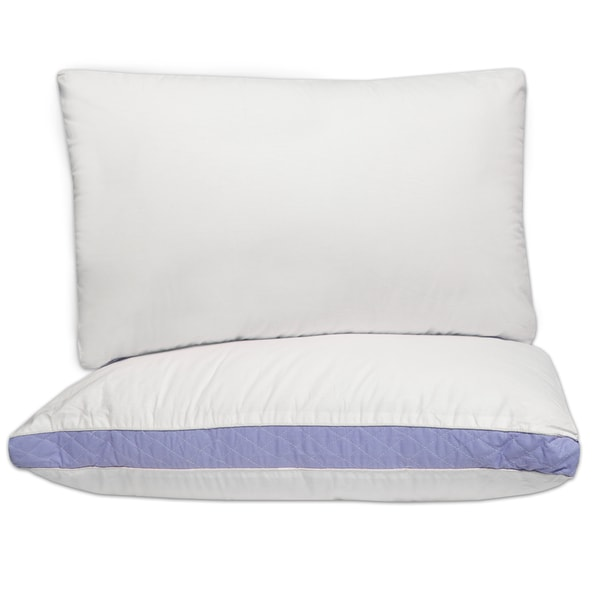 Hypo-Allergenic Extra Firm Cotton Pillows with 2-Inch Quilted Gusset (Set of 2)
