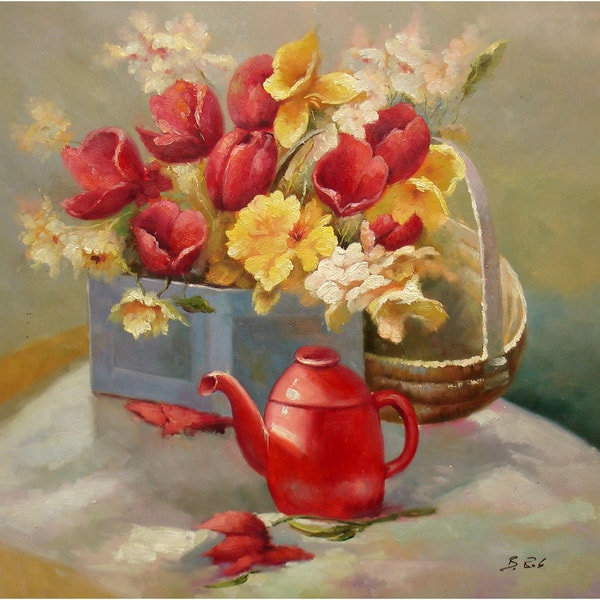 "Still Life 'Flowers in Container by Watering Pot' 24x24"" Original Oil Painting Canvas Wall Art"