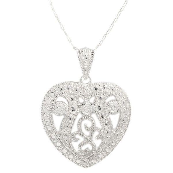 Sterling Silver Filigree Milgrain Heart Necklace