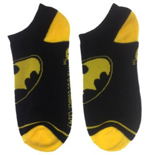Batman Logo Black Ankle Socks (Pair) Yellow Bat Signal DC Comics Man