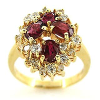 Kabella Luxe 14k Yellow Gold 5/8ct TDW Diamond and Oval Ruby Ring (G-H, SI1-SI2)