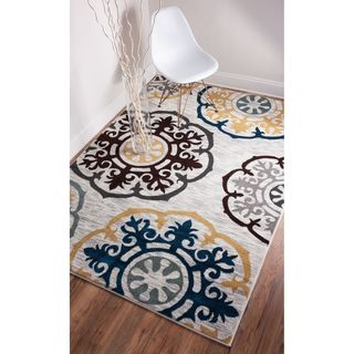 Well-Woven Mano Shades of Gold Suzzani Bold Grey, Yellow, and Blue Oriental Floral Geometric Modern Contemporary Rug (5'3 x 7'3)