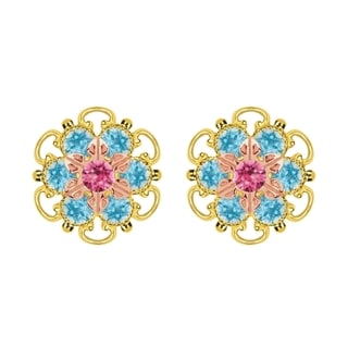 Lucia Costin Rose Gold Over Sterling Silver Pink Light Blue Crystal Stud Earrings