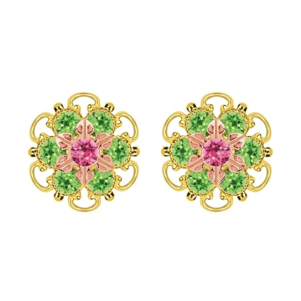 Lucia Costin Rose Gold Over Sterling Silver Pink Light Green Crystal Stud Earrings