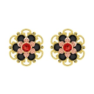 Lucia Costin Rose Gold Over Sterling Silver Red Black Crystal Stud Earrings