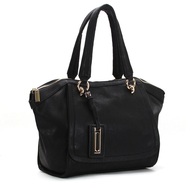 Robert Matthew Faux Leather Alayna Black Satchel Tote