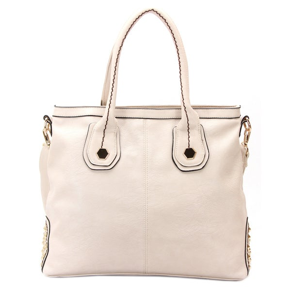 Robert Matthew Faux Leather Hannah Beige Shoulder Tote