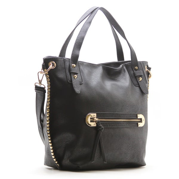 Robert Matthew Faux Leather Mila Black Shoulder Tote