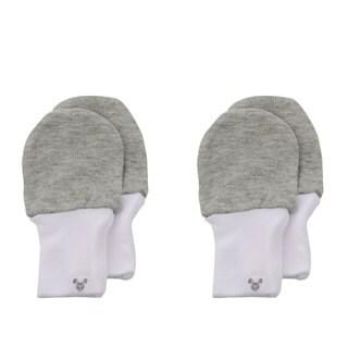 Crummy Bunny No Scratch Grey Cotton Baby Mittens (Set of 2)