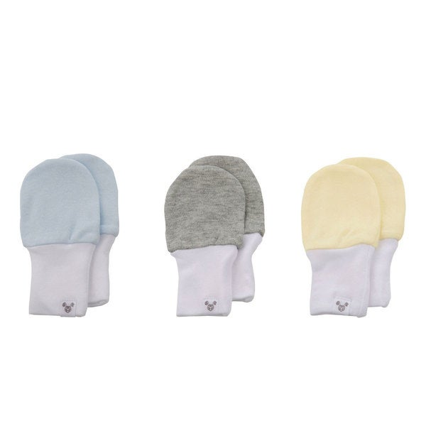 Crummy Bunny No Scratch Blue, Yellow, Grey Cotton Baby Mittens (Set of 3)