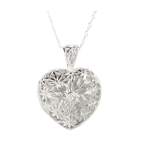 Sterling Silver Flower Filigree Heart Locket Necklace