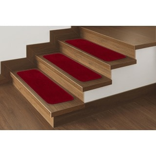 Softy Collection Red 9X26 Contemporary Solid Design Stair Tread Rug