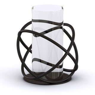 Danya B Large Metal and Glass Orbits Hurricane Candleholder