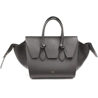 Celine Small 'Tie' Black Grained Calfskin Leather Tote