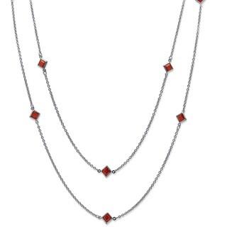 PalmBeach Princess-Cut Birthstone Station Necklace in Silvertone Color Fun