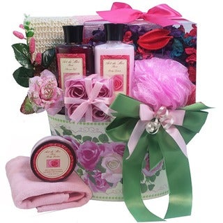 Mum's English Rose Garden Spa Bath and Body Gift Basket Set
