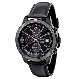 Seiko Men's SKS439 Black Leather Strap Chronograph Sport Watch