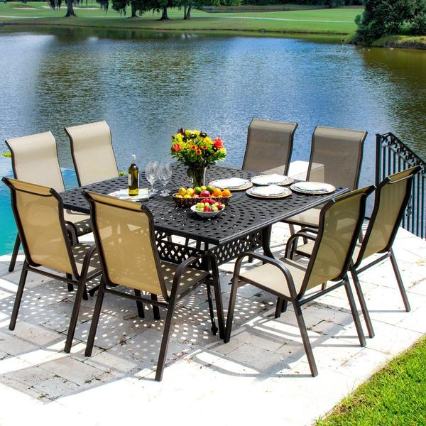 Lakeview Outdoor Designs Madison Bay 8 Person Sling Patio Dining Set With Sta