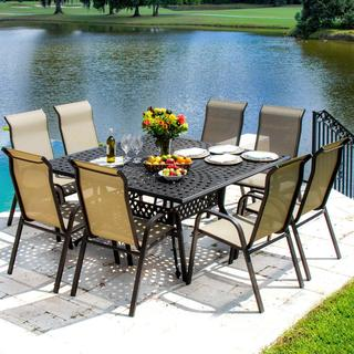 Lakeview Outdoor Designs Madison Bay 8-Person Sling Patio Dining Set With Stacking Chairs And Cast Aluminum Table