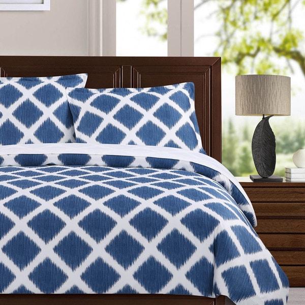 Echelon Home Diamond Ikat 3-piece Cotton Duvet Cover Set
