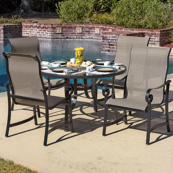 Lakeview Outdoor Designs La Salle 4-Person Sling Patio Dining Set With Glass Top Table