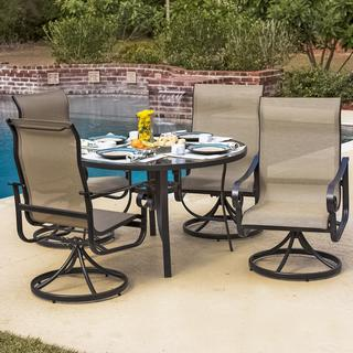 La Salle 4-Person Sling Patio Dining Set With Glass Top Table