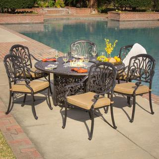 Lakeview Outdoor Designs Rosedown 6-Person Cast Aluminum Patio Dining Set With Fire Pit Table