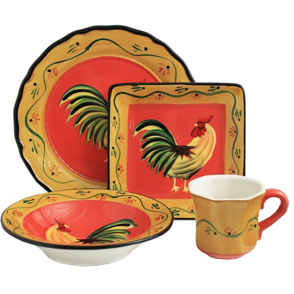 Grand Rooster Collection Hand-painted 16-Piece Dinner Set - Serving for 4
