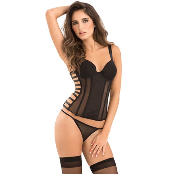Rene Rofe Signature Uncaged bustier w/Cage Detail, Removable Garters and G-String Black