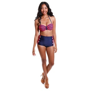 Hadari Women's High Waisted Striped Bikini