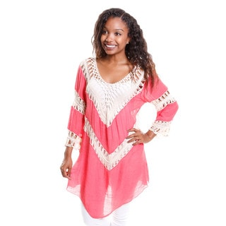 Hadari Women's Crochet Tunic Top