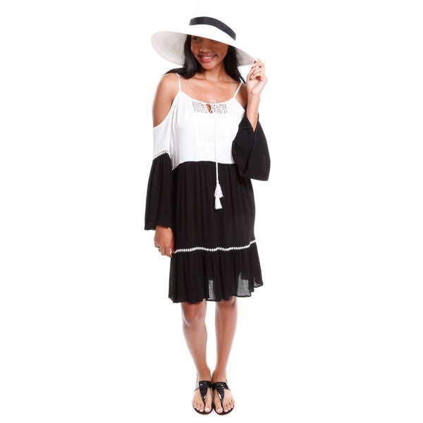 Hadari Women's Contemporary Off Shoulders Two Tone Dress