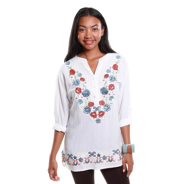 Hadari Women's Embroidered Long Sleeve Blouse