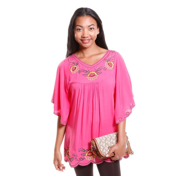 Hadari Women's Embroidered Bell Sleeve Blouse
