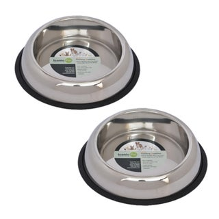 Iconic Pet 2-piece Heavy Weight Non-skid Easy Feed High Back Pet Bowl 15643759