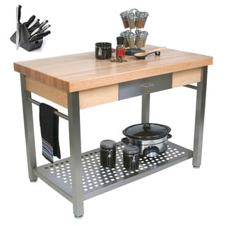 John Boos CUCG20 Grande 48 x 24 x 35 Work Table and Henckels 13-piece Knife Block Set