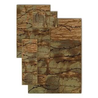 Au Naturel Vines Brown 4-piece Rug Set