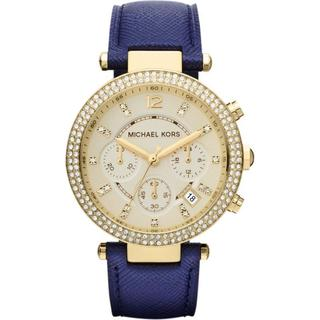 Michael Kors MK2280 Women's Chronograph Parker Navy Leather Strap Watch