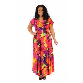 24/7 Comfort Apparel Women's Plus Size Vibrant Floral Wrap Dress