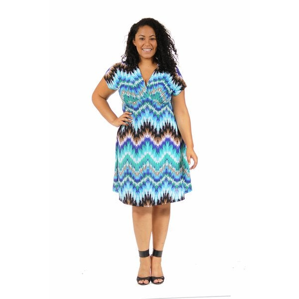 24/7 Comfort Apparel Women's Plus Size Cool Blue Empire Dress