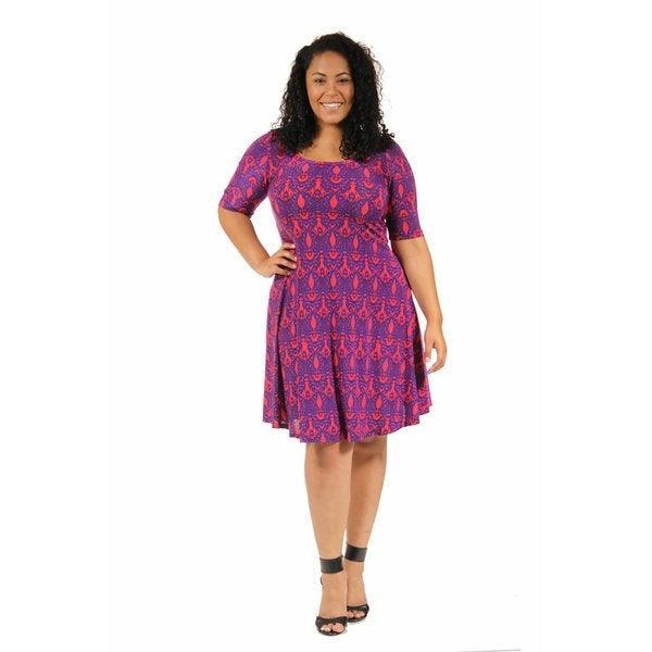 24/7 Comfort Apparel Women's Plus Size Dynamic Blue and Red Dress