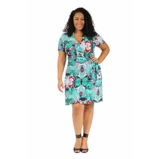 24/7 Comfort Apparel Women's Plus Size Teal Abstract Mosaic Wrap Dress