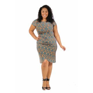 24/7 Comfort Apparel Women's Plus Size Dynamic Orange and Teal Cinch Dress
