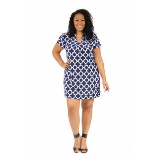 24/7 Comfort Apparel Women's Plus Size Blue Clover Classic Dress