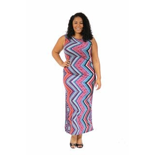 24/7 Comfort Apparel Women's Plus Size Boat Neck Printed Tank Maxi
