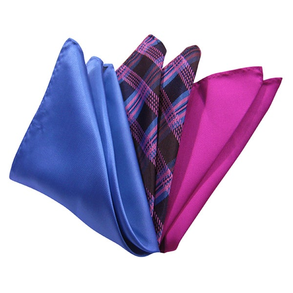 Dmitry Men's Italian Silk Navy/ Pink Pocket Squares (Pack of 3)